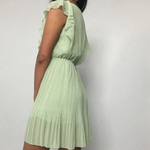 Pistachio/mint green chiffon pleated mini dress